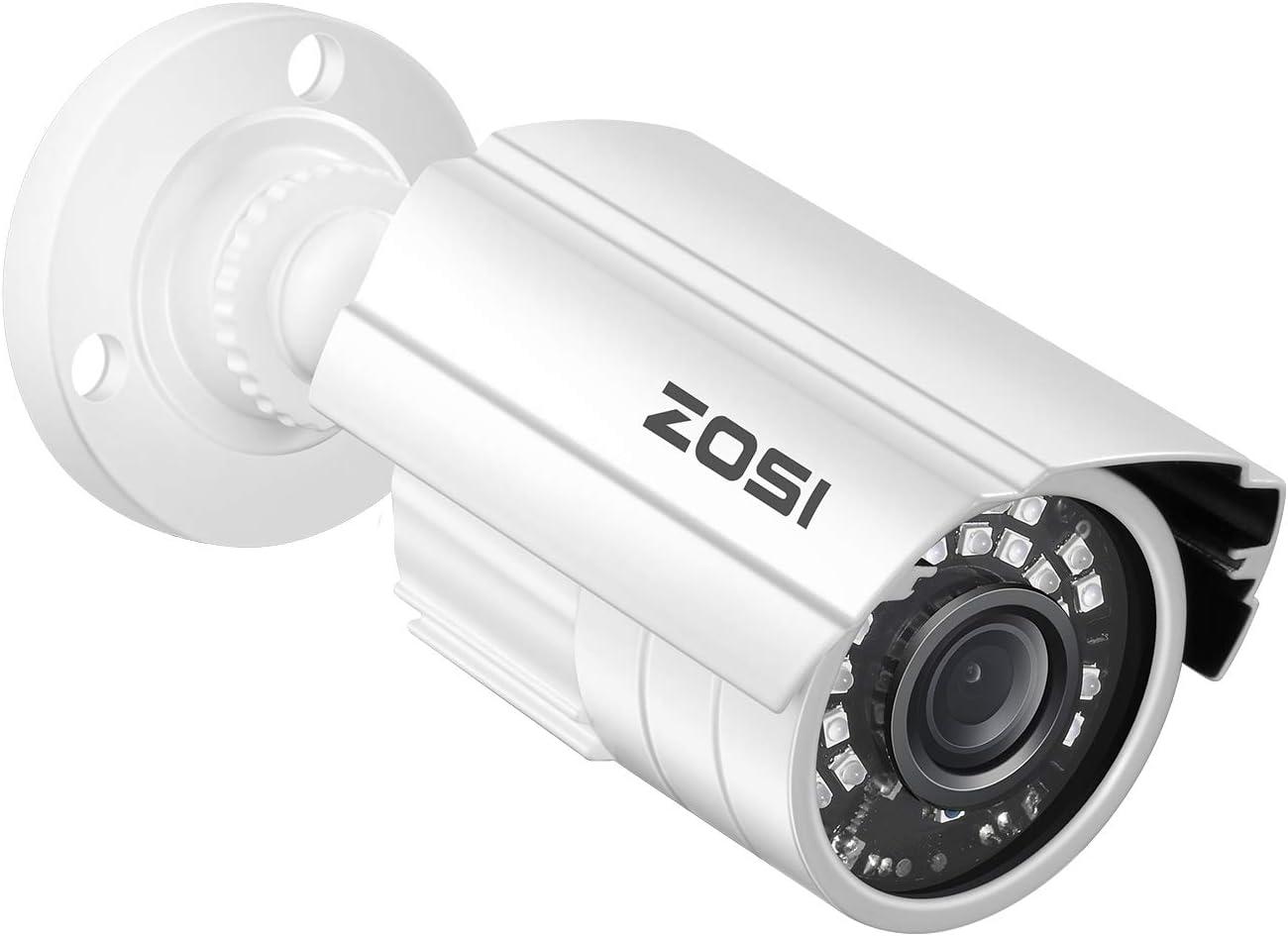 ZOSI 1080P 2.0MP HD 1920TVL Hybrid 4-in-1 TVI/CVI/AHD/960H CVBS CCTV Security Camera Indoor Outdoor, 80ft Night Vision,Aluminum Metal Cam, For 960H,720P,1080P,5MP,4K analog Surveillance DVR (White)
