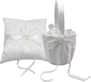 Staright Flower Basket+Wedding Ring Bearer Pillow Cute Bowknot Flower Lace Ribbon Crystal Pearl Decor for Wedding Party Romantic