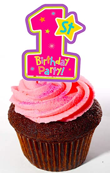 Made4you Happy 1st Birthday Edible Cupcake Toppers Girl Pink Stand