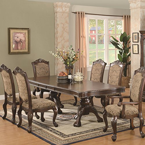 Coaster Home Furnishings Andrea 7-Piece Double Pedestal Table Dining Set Warm Brown and Tan ()