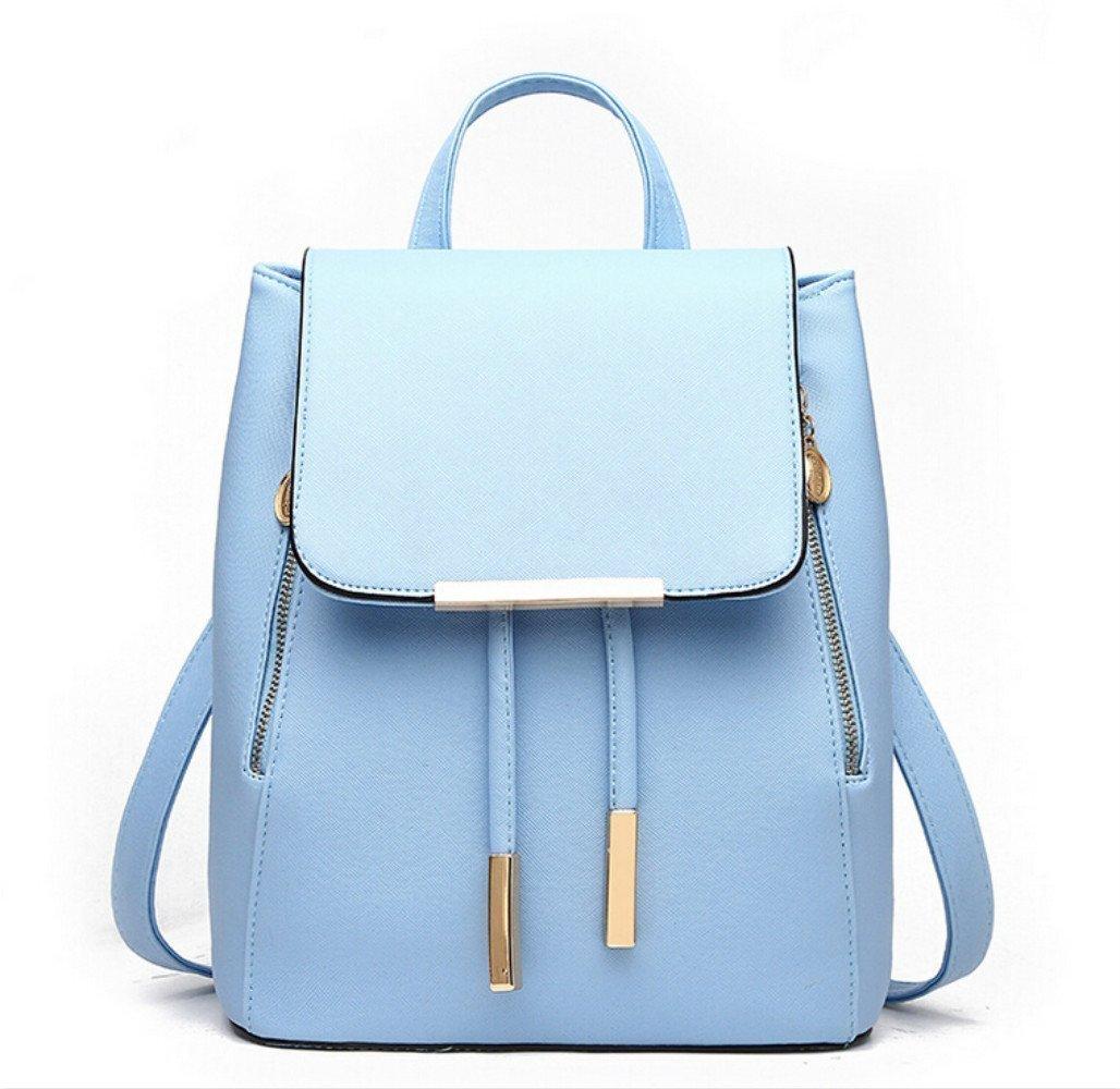 WINK KANGAROO Fashion Shoulder Bag Rucksack PU Leather Women Girls Ladies Backpack Travel bag (Blue)
