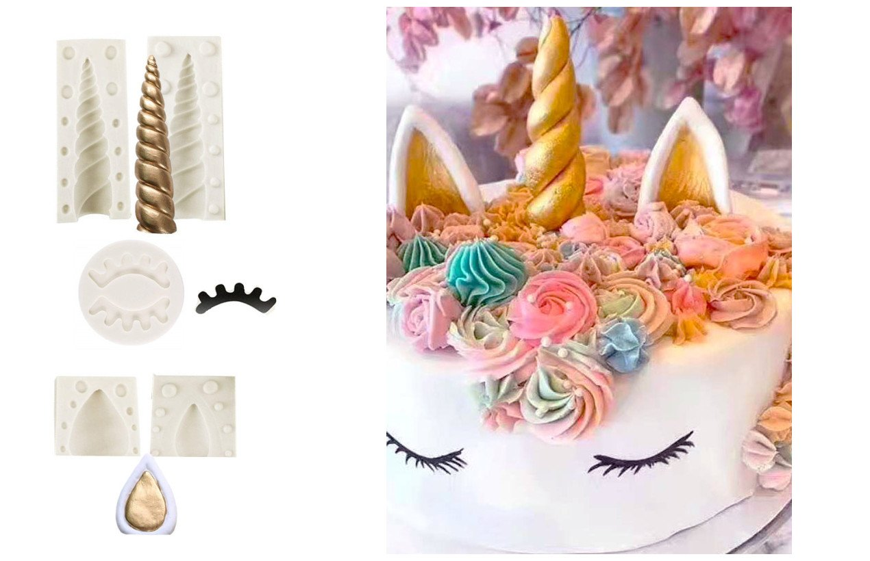 DOYOLLA Unicorn Party Cake Topper Unicorn Horn Ears Eyelash Chocolate Candy Molds Pack of 5