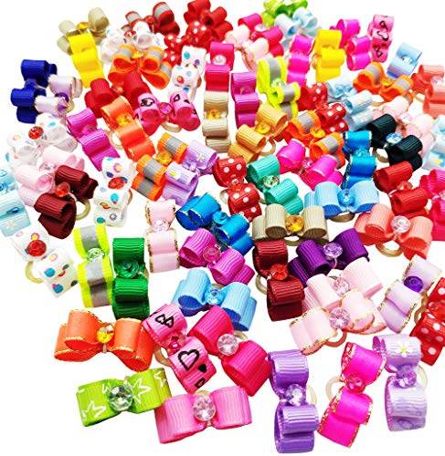 Hixixi 50pcs/Pack Cat Small Dog Puppy 3D Mini Size Hair Bows Multicolor Rhinestone Beads with Rubber Bands Pet Hair Accessories Mix Color Random