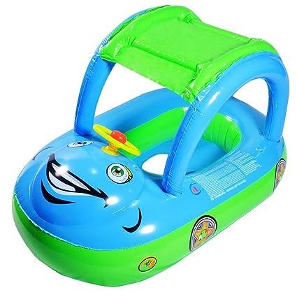 Highdas Flotador inflable infantil del asiento del barco Playa del coche Parasol piscina de agua del
