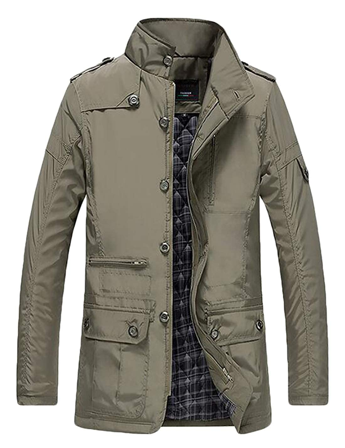 XTX Mens Winter Stand Collar Warm Thicken Quilted Windbreaker Outerwear Jackets Khaki 4XL