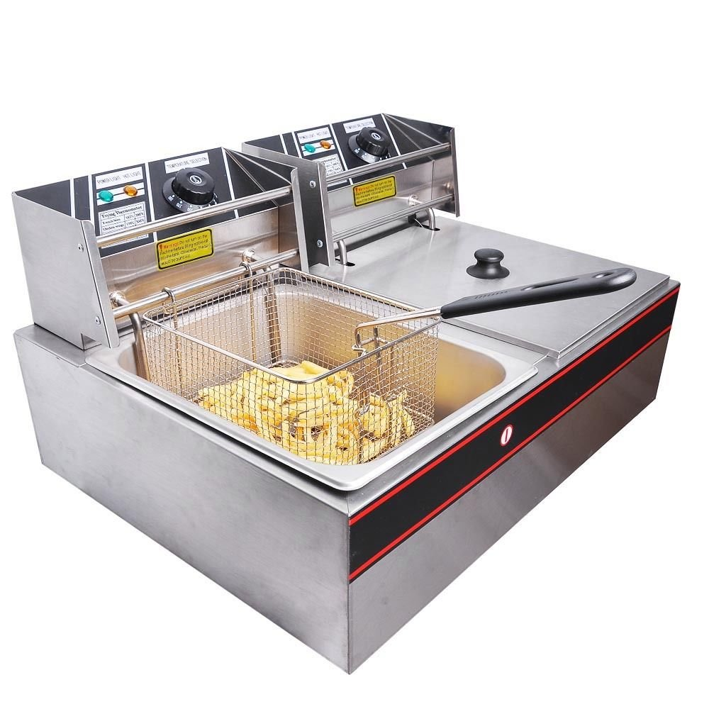 Mefeir Commercial Electric Countertop Deep Fryer Dual Tank Basket Deep Fryers 5000W Stainless Steel