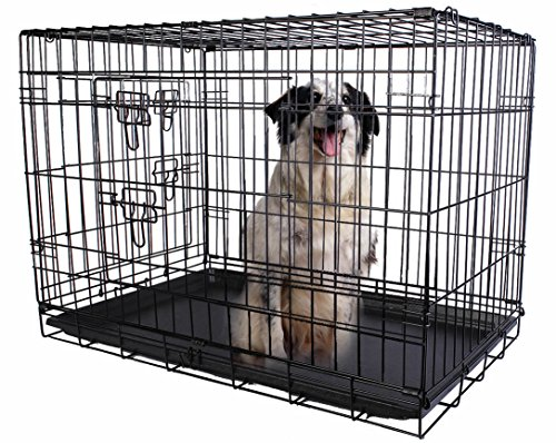 Giantex 2 Doors Wire Folding Pet Crate Dog Cat Cage Suitcase Kennel Playpen w/ Tray 24''/30''/36''/42''/48'' (24'' ) (Cage Dog 48')