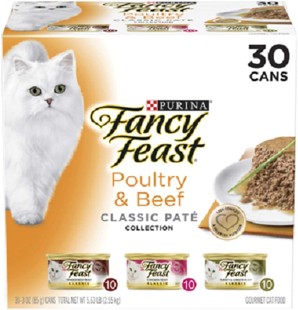 Purina Fancy Feast Classic Pate Collection Feast Adult Wet Cat Food (Poultry & Beef Variety Pack, 3 oz (Pack of 30))