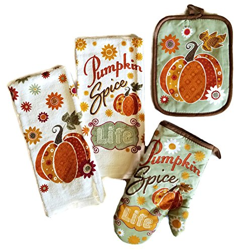 Thanksgiving-Fall-Harvest-Pumpkin-Kitchen-Dish-Towels-Bundle-Set-of-4-Includes-2-Dish-Towels-a-Pot-Holder-and-an-Oven-Mitt