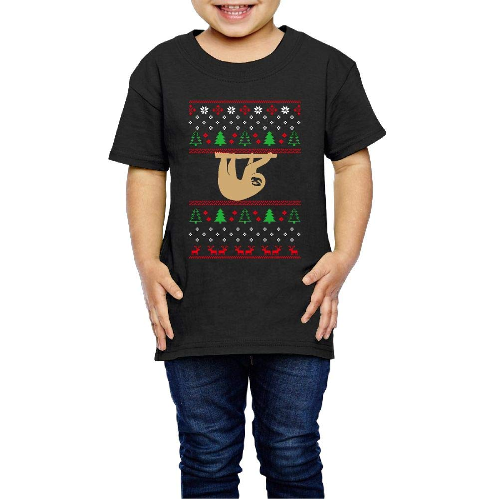 XYMYFC-E Sloth Ugly Christmas 2-6 Years Old Children Short-Sleeved Tee Shirts