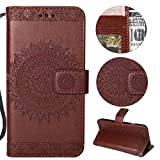 Stysen Wallet Case for iPhone 5 5S,Floral Case for iPhone SE 5S 5,Pretty Elegant Embossed Totem Flower Pattern Brown Bookstyle Magnetic Closure Pu Leather Wallet Flip Case Cover with Wrist Strap and Stand Function for iPhone SE 5S 5-Totem Flower,Brown
