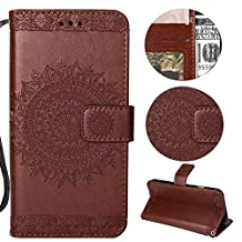 Stysen Galaxy S9 Plus Wallet Case,Galaxy S9 Plus Floral Case,Pretty Elegant Embossed Totem Flower Pattern Brown Bookstyle Magnetic Closure Pu Leather Wallet Flip Case Cover with Wrist Strap and Stand Function for Samsung Galaxy S9 Plus-Totem Flower,Brown