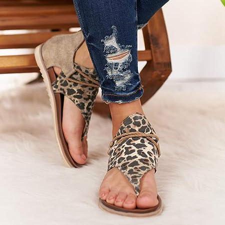 Sandalias para Mujer de Shujin, cómodas Plataformas, Zapatos de Verano, Playa, Viajes, Planas, con Estampado de Leopardo, con Dedos Abiertos, con Encaje, Zapatos Romanos