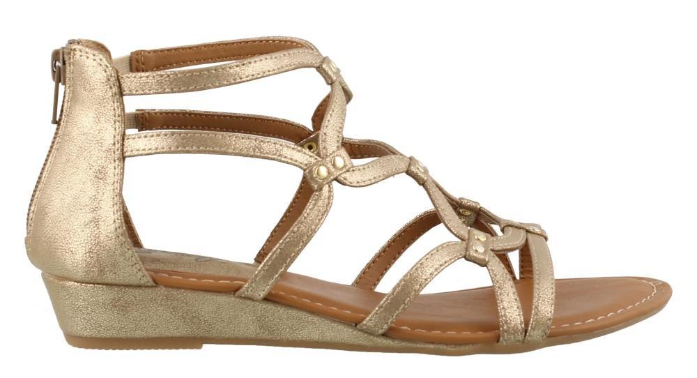 Women's Eurosoft, Mekelle Low Heel Gladiator Style Sandals Gold 11 M