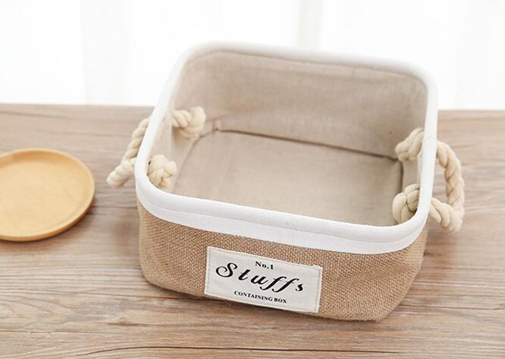 Solid Color Simple Toy Storage,Beige Foldable Storage Bin Basket, Thicken Canvas Fabric Storage Bin With Handles by Cutepuppy (Square)
