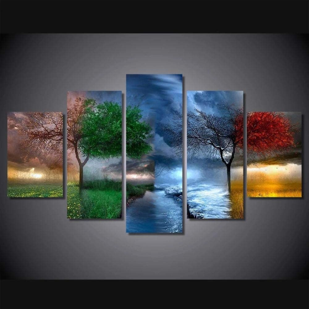 FFFAF Four Seasons Trees,5 Piece Modern Wall Art Abstract Canvas Print Decor Artwork Picture Painting for Bedroom,Living Room,Office,Bathroom Home Decor 150x80cm(Framed)