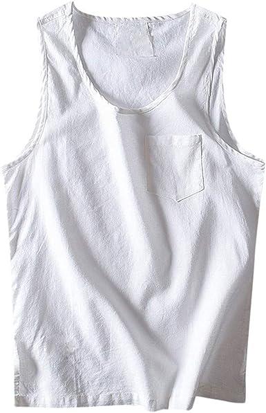 MEETEW - Camiseta de algodón sin Mangas para Hombre, Estilo Informal, Playera, Hippie, Yoga, Correr, Ejercicio, Gimnasio, Chaleco: Amazon.es: Ropa y accesorios