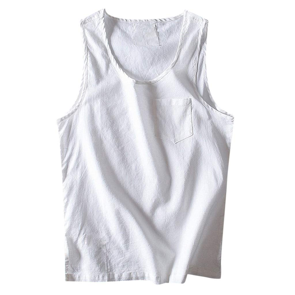 Mens Baggy Tank Tops Casual Cotton Linen Sleeveless O-Neck Vest Sunmer Solid Shirt White by Doad T-Shirt