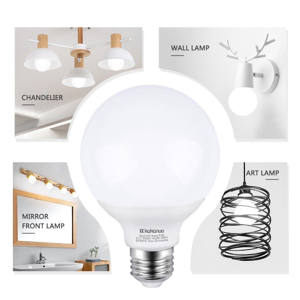G25 Led Vanity Light Bulb 5w Kakanuo 60w Globe Bulb