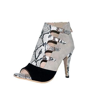 6901753d3d391 Zapatos Mujer ZARLLE Sandalias de Mujer Zapatos de tacón Delgado de Primavera  Casual Piel de Serpiente