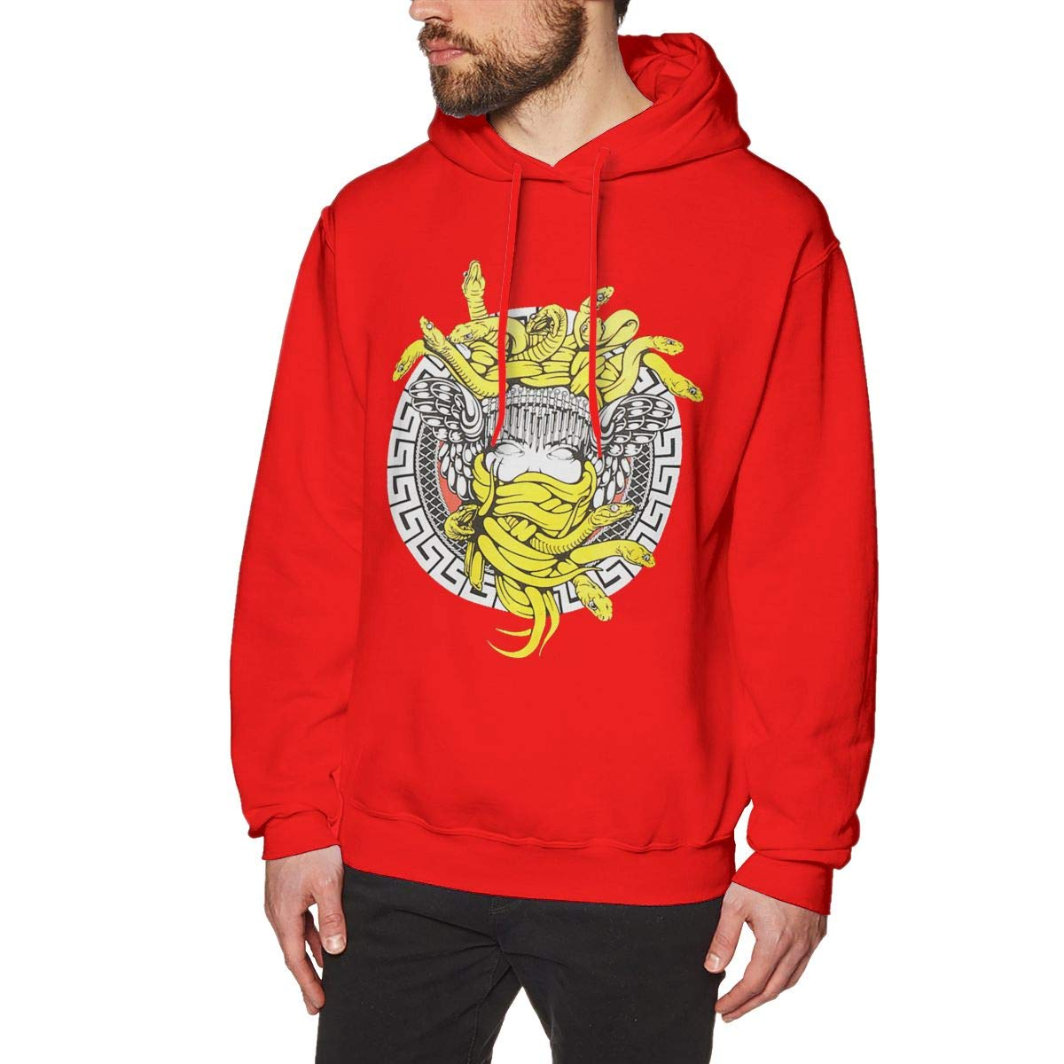 GRaconndeg Mens Crooks and Castles Medusa Classic Red Hoodie Sweatshirt Jacket Pullover Tops