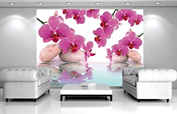 fototapete vlies orchideen steine pink wei grau xxl 310x219 m 3 teilig - Fototapete Grau Wei