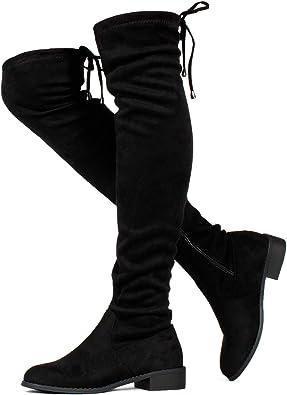 RF ROOM OF FASHION TRENDHI Women Fashion Comfy Vegan Suede Side Zipper Over The Knee Boots Medium Calf