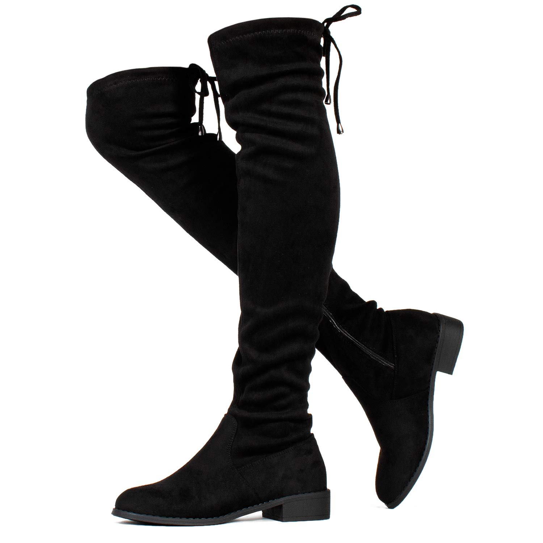 RF ROOM OF FASHION Stretchy Over The Knee Riding Boots (Medium Calf) Black SU (7) by RF ROOM OF FASHION