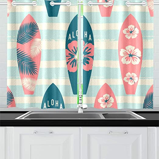 Amazon Com Surfboard Hand Painted Color Kitchen Curtains Window Curtain Tiers For Café Bath Laundry Living Room Bedroom 26 X 39 Inch 2 Pieces Home Kitchen