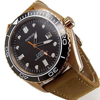 aab0c2f5c Sapphire Parnis 45mm Black Dial Rose Gold Case Miyota Automatic Movement Men's  Watch Brown Leather Band: Amazon.co.uk: Watches