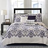Madison Park Cali Full/Queen Size Quilt Bedding Set - Navy, Ivory, Paisley Damask – 6 Piece Bedding Quilt Coverlets – Ultra Soft Microfiber Bed Quilts Quilted Coverlet