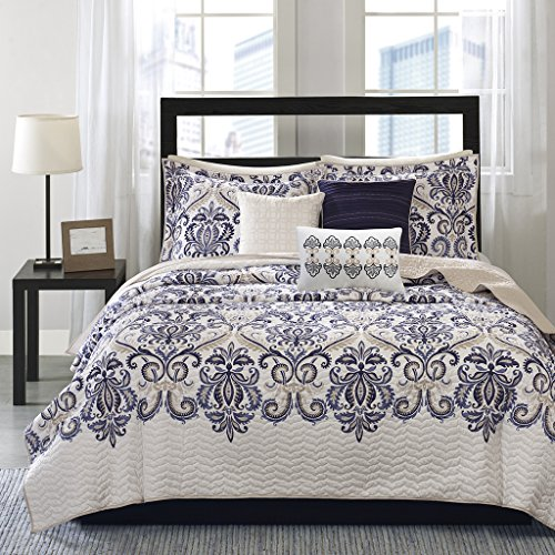(Madison Park Cali 6 Piece Quilted Coverlet Set, Full/Queen Size, Blue)