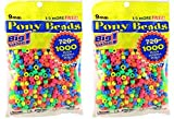 2 x Darice Value Pack Pony Bead, 9mm, Neon Multicolor, 1000-Pack (2 PACK)