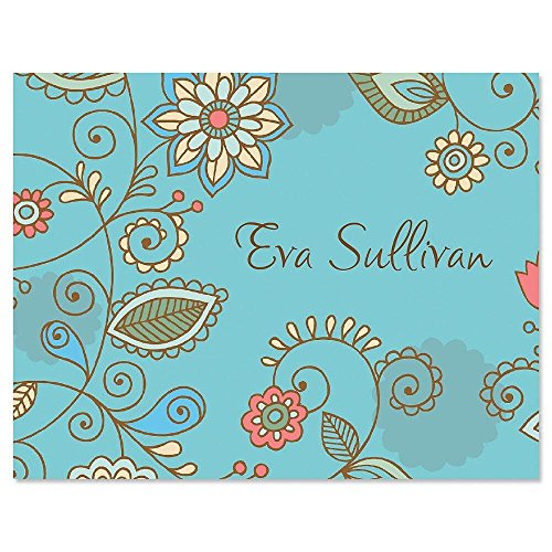 Paisley Blue Personalized Note Card Set - 24 cards & envelopes Blue Paisley Note