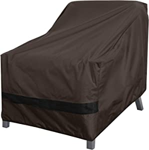 True Guard Patio Furniture Covers Waterproof Heavy Duty - Club Chair Cover, 600D Rip-Stop, Fade/Stain/UV Resistant for Outdoor Patio Furniture, Dark Brown