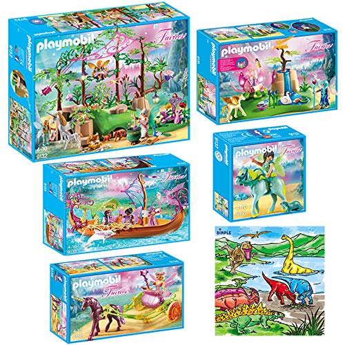 DimpleChild KTPM85868 Playmobil Magical Fairy Forest Mega Set Indoor Games with Dimple Washable Coloring Mat, Multicolor ()
