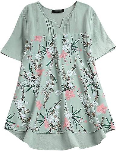 Plus Size Women Short Sleeve Floral Print Blouse T-Shirt Retro V Neck Casual Top