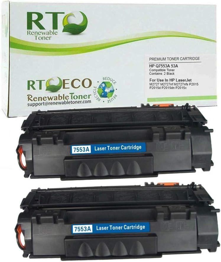 Renewable Toner Compatible Toner Cartridge Replacement HP Q7553A 53A for HP Laserjet P2015 M2727 (Black, 2-Pack)