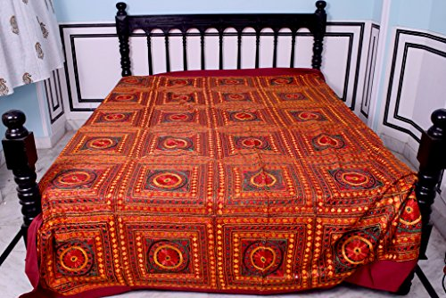 Hand Embroideried Mirror Work Badmeri Elegant Double Bed Covers by Handmade