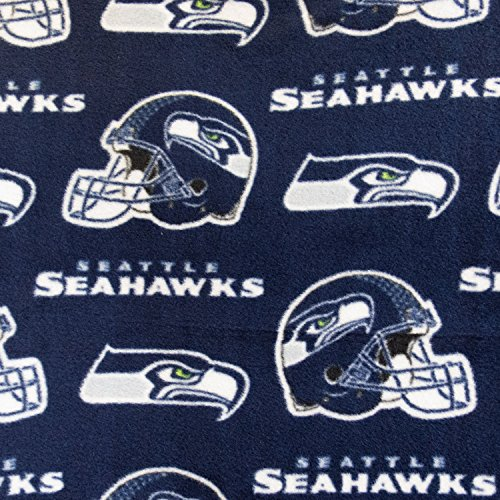 Fleece Print Seattle Seahawks Navy 58 Inch Wide Fabric by the Yard (F.E.®)