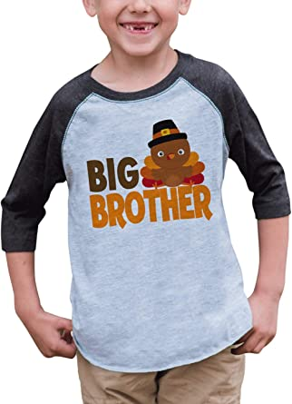 7 ate 9 Apparel Boys Big Brother Grey Baseball Tee