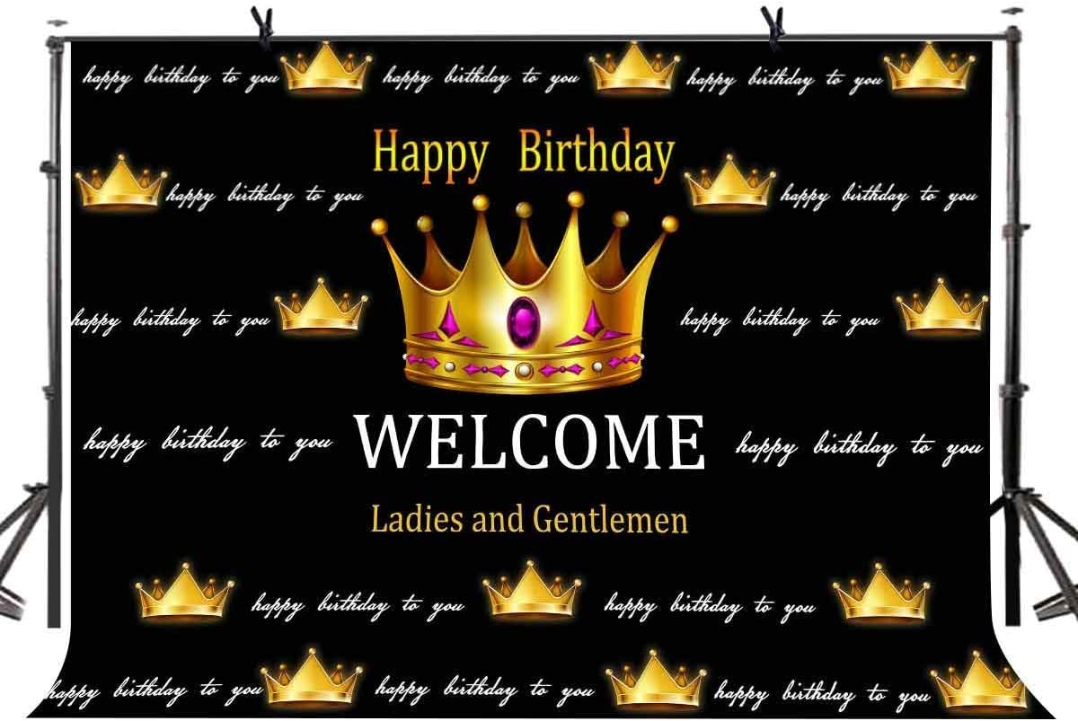GoHeBe 7x5 Birthday Backdrop Black and Gold Happy 40th 50th 60th Birthday Backdrop Sweet 16th Adults Party Decorations LYLX853