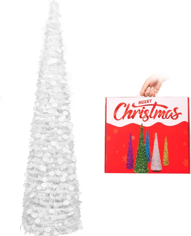 N&T NIETING Christmas Tree, 5ft Collapsible Pop Up White Tinsel Christmas Tree Coastal Christmas Tree for Holiday Xmas Decorations, Home Display, Office Decor