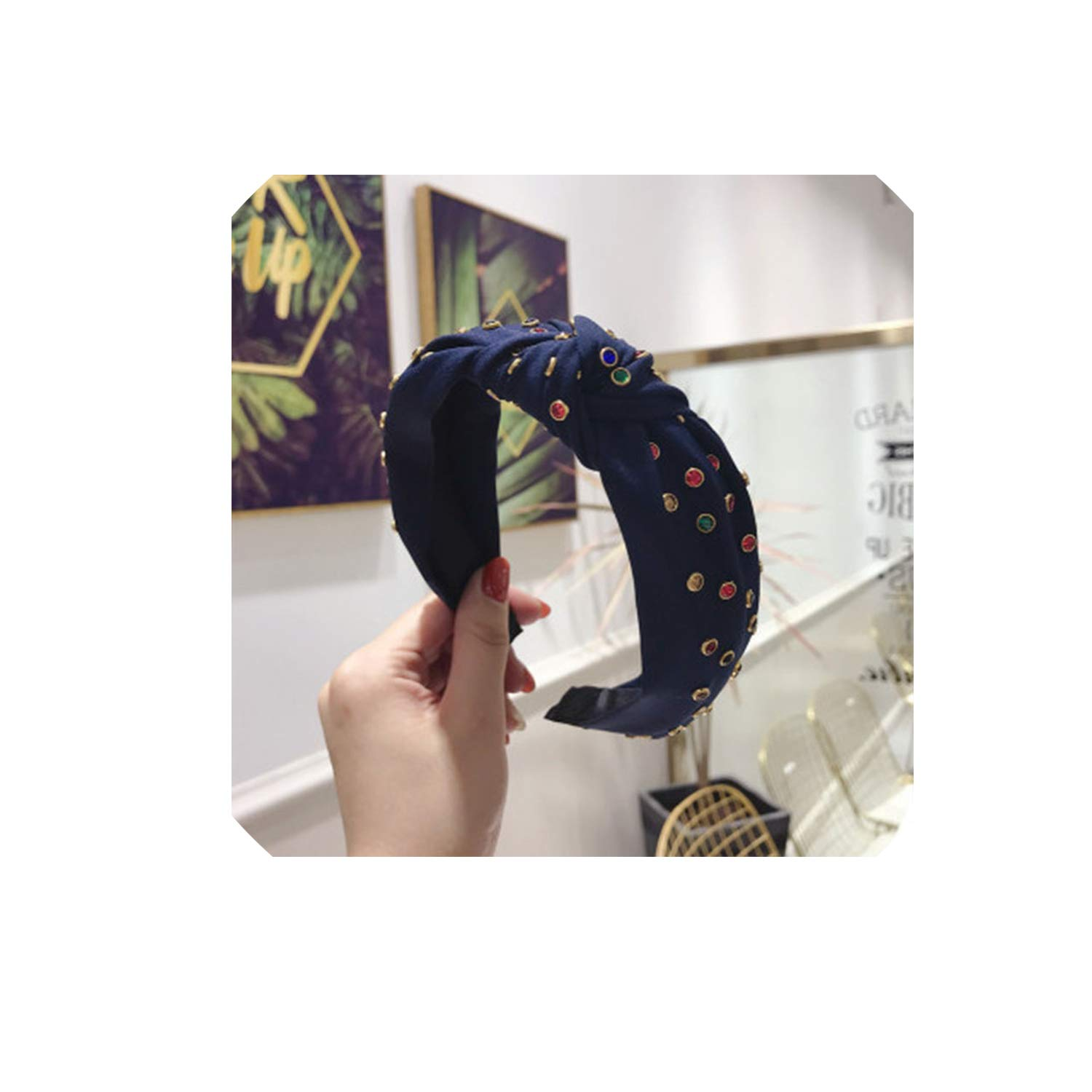 Korea New Hair Accessories Crystal Decorated Solid Color Top Knotted Hairbands For Women Wide Hair Bands Headwear,yellow