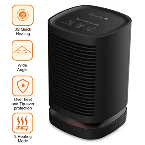 Weixinbuy Calefactor Cerámico 950W Bajo Consumo Claentador Eléctrico Portátil de Aire Caliente para Cuarto Baño Oficina
