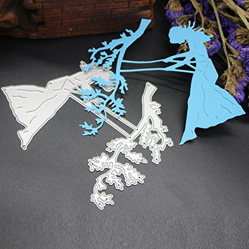 Gotd Cute Metal Cutting Dies Stencils Scrapbooking Embossing DIY Crafts Christmas Party Festival Supplies Home Gift Decorations (Silver H)