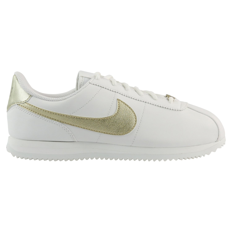 free shipping 8608c 867f4 Nike Kids Cortez Basic SL (GS) Summit White/MTLC Gold Star Casual Shoe 6  Kids US