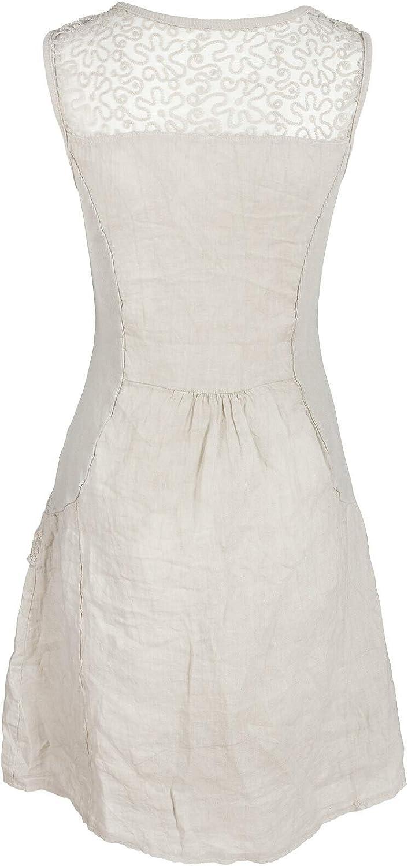 Italienische Mode GS-Fashion Leinenkleid Damen Sommer mit Spitze am Rücken  Kleid ärmellos Knielang