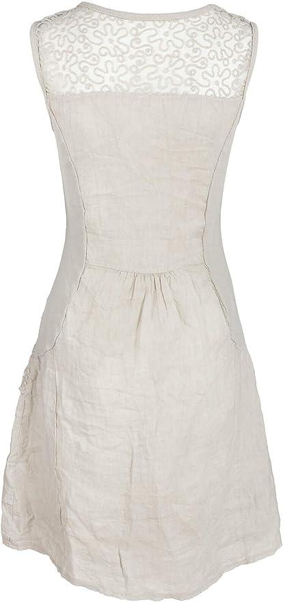 Italienische Mode Gs Fashion Leinenkleid Damen Sommer Mit Spitze Am Rucken Kleid Armellos Knielang Amazon De Bekleidung