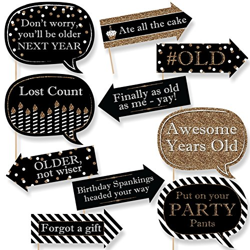 Big Dot of Happiness Funny Adult Happy Birthday - Gold - Birthday Party Photo Booth Props Kit - 10 Piece